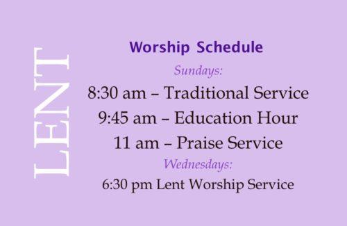 Lent 2018 Worship Schedule