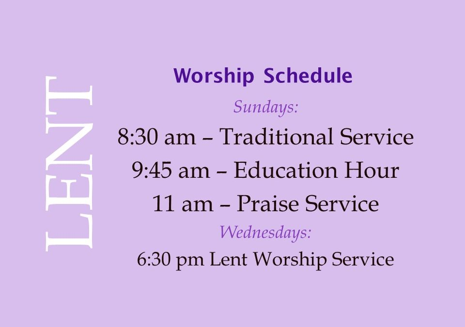 Lent 2018 Worship Schedule