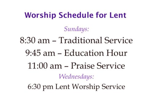 Lent 2019 Worship Schedule